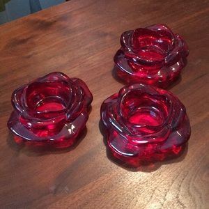 Rose design candle holders